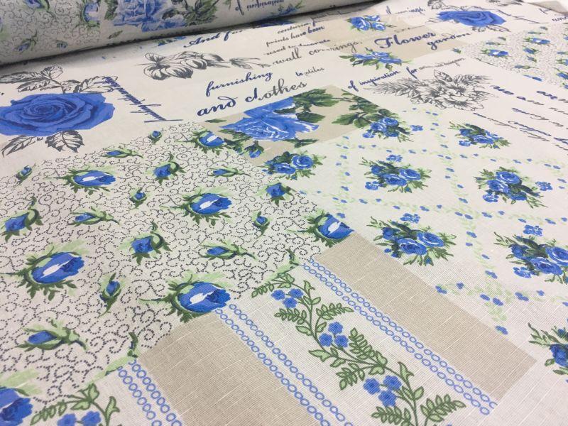 150 см. Ткань полулен голубого цвета с цветами Пэчворк