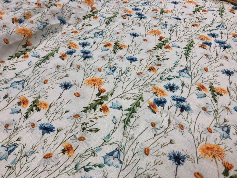 150 см. Льняная ткань для платья colored glade