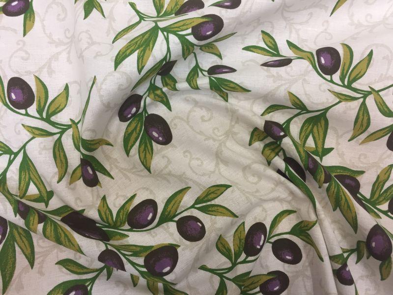 150 см. Ткань полулен шторная Olive branch