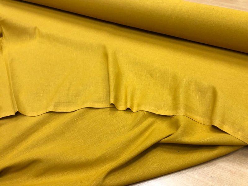 150 см. Горчичная льняная ткань для штор