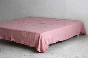 """230х240 Розовая льняная простынь """"Soft linen"""""""