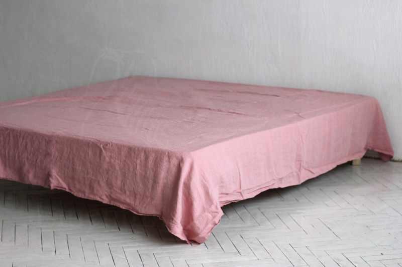 230х240 Нежная розовая простынь из мягкого льна