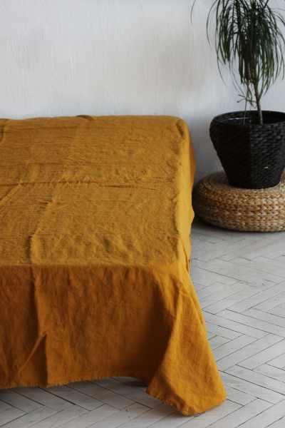 160х220 1.5 спальная желтая льняная простынь Янтарный сон