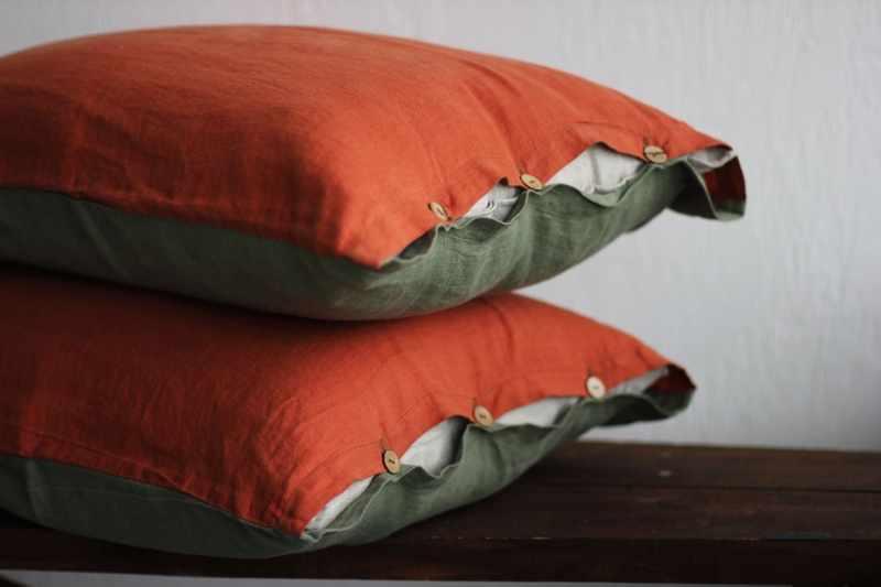 50х70 Двухцветная наволочка хаки-оранж