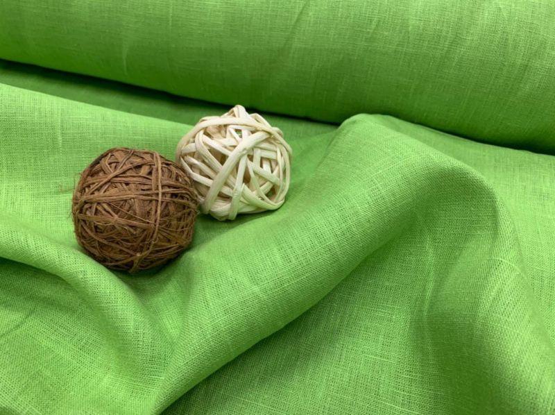 150 см. Льняная Ткань для штор Кислотно Зеленая