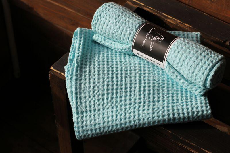 70х130 Мятное банное вафельное полотенце