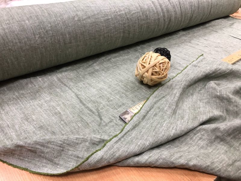 150 см. Ткань меланж Бело-зеленый