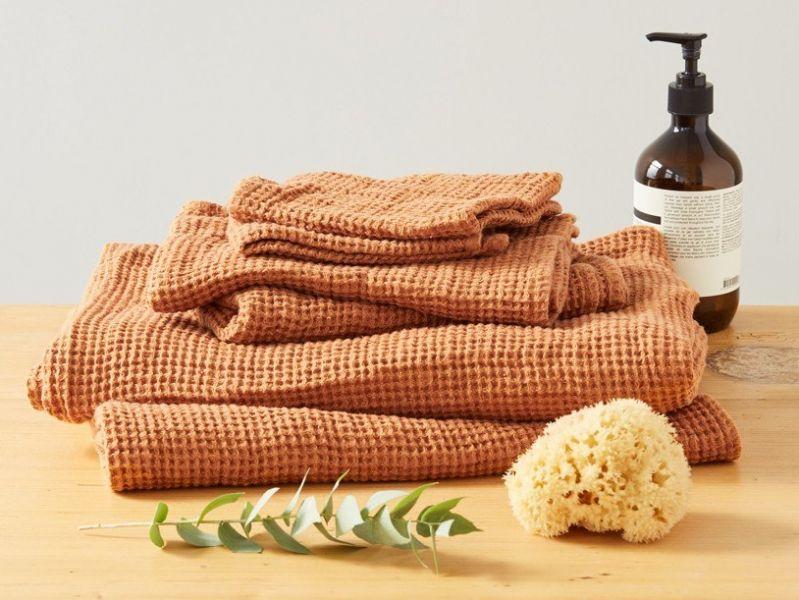 50х70 Оранжевое вафельное полотенце для рук