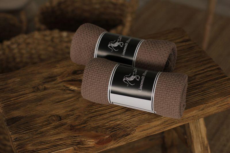 90х160 Огромное коричневое банное вафельное полотенце