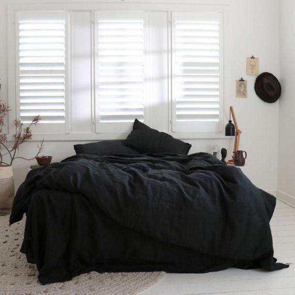 Льняное постельное белье Евро Black