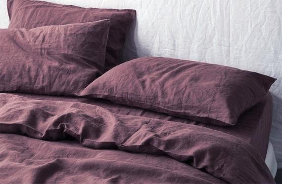 Постельное белье Евро Сиренево-коричневый