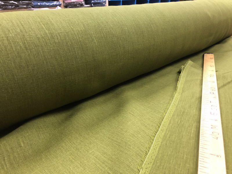 260 см. Широкая льняная ткань цвет Olive