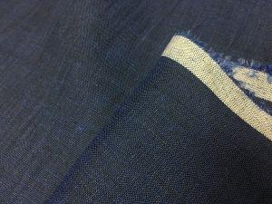 150 см. Лен батист синий и черный меланж 125 г/м