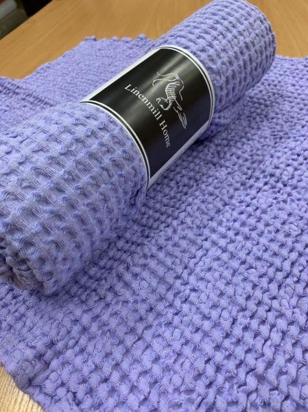90х160 Огромное сиреневое банное вафельное полотенце