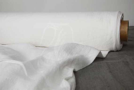220 см. Ткань 100% лен белый для постельного белья