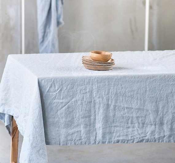 150х150 Скатерть голубая Холодное Небо Soft linen