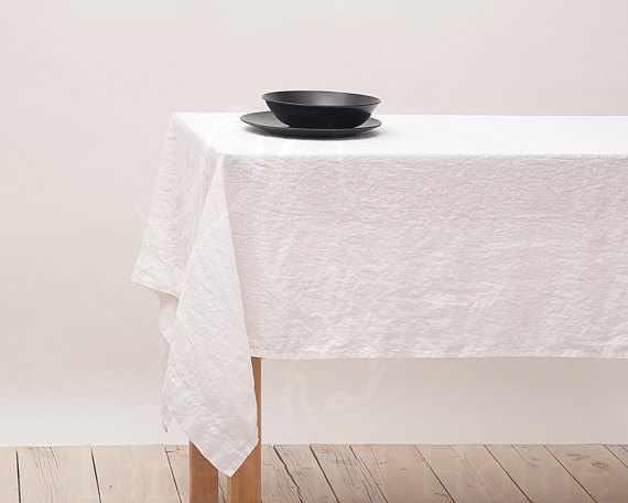180х220 Белая прямоугольная скатерть Soft linen