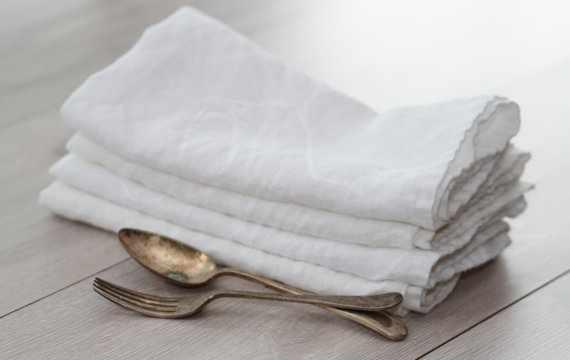 45х45 Белая салфетка льняная Soft Linen