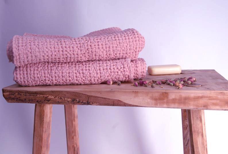 45х65 Розовое вафельное полотенце для рук