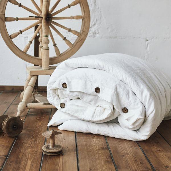 160х220 1.5 спальный льняной пододеяльник Белый