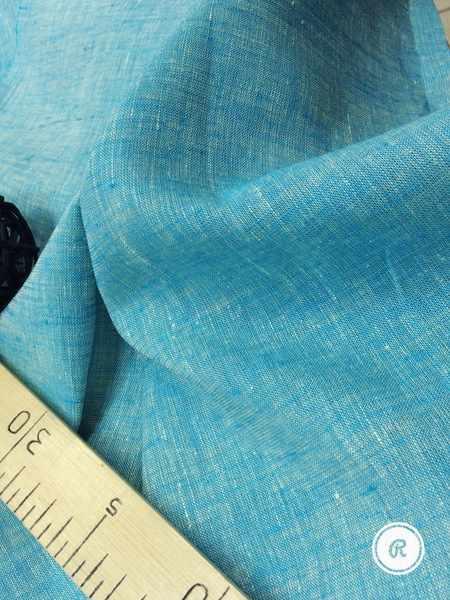 260 см. Широкая льняная ткань меланж Бирюза
