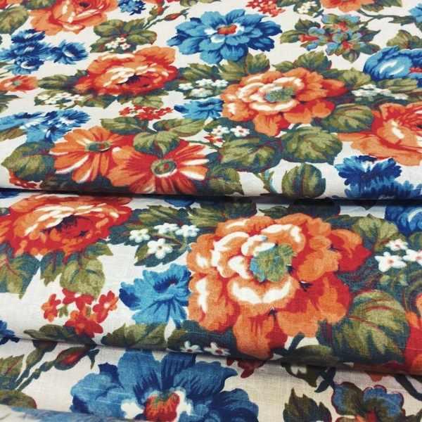 150 см. Ткань с крупным рисунком цветов Vea