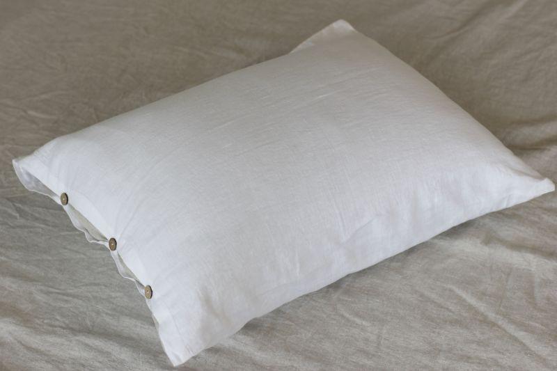 50х70 Белая наволочка из мягкого льна Soft linen