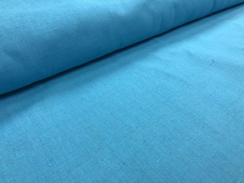 150 см. Льняная ткань для штор небесно-голубого цвета