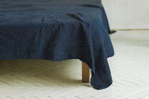 220х160 1.5 спальная мягкая тёмная льняная простынь Dark Grey