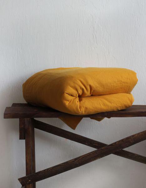200х220 Мягкий желтый Евро-пододеяльник из льна Янтарный Сон