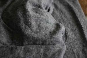 220х160 1.5 спальная мягкая черная простынь из льна Графен