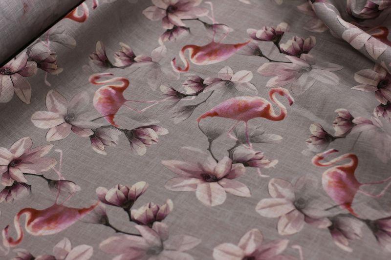 150 см. Лён-Батист для платья с рисунком Фламинго