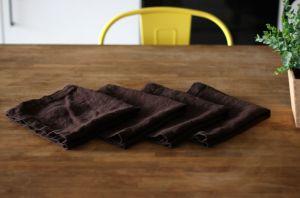 50х50 Коричневая льняная салфетка Soft Linen