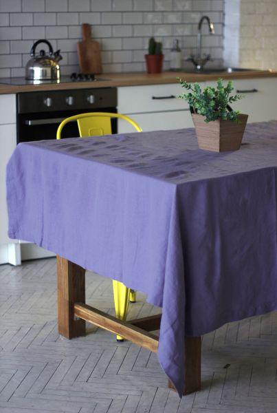 150х150 Квадратная сиреневая льняная скатерть Soft linen