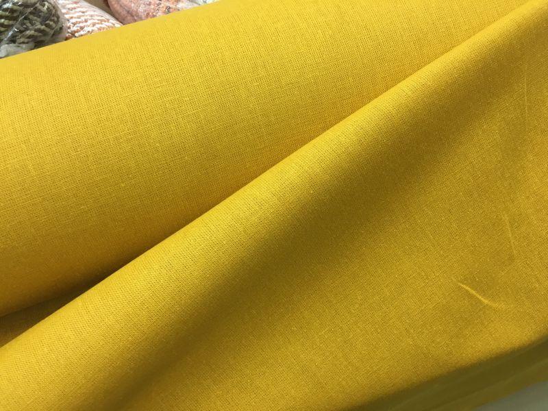 150 см. Ткань полулен горчичного цвета для одежды