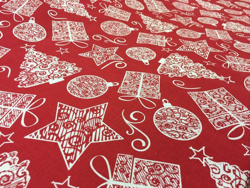 150 см. Новогодняя ткань с рисунком Подарок