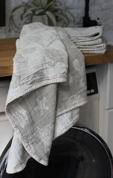 65х130 Полотенце из уваренного льна Ракушки