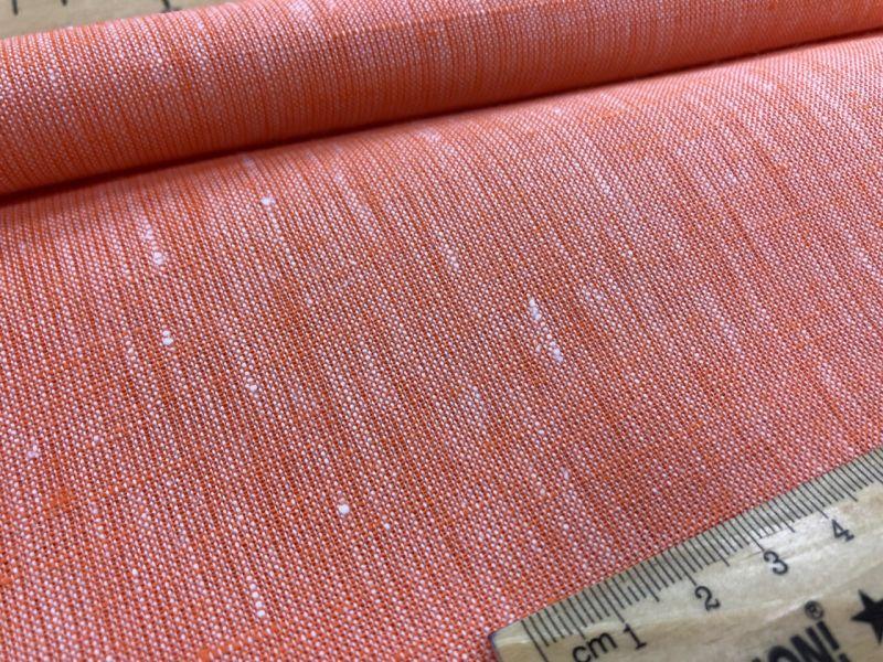 260 см. Широкая льняная ткань Оранжевый меланж 100% лен