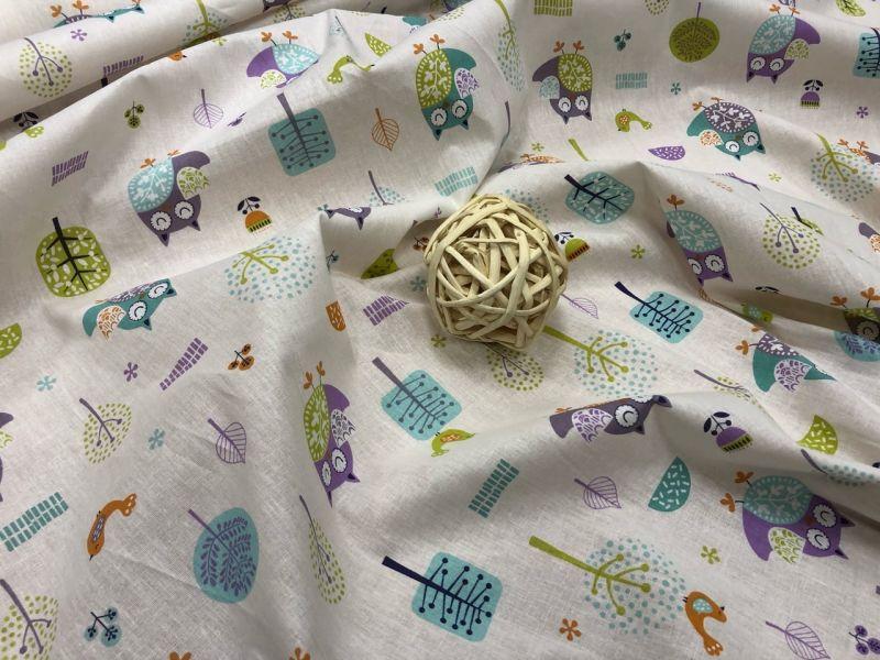150 см. Ткань для детского постельного белья Совушки