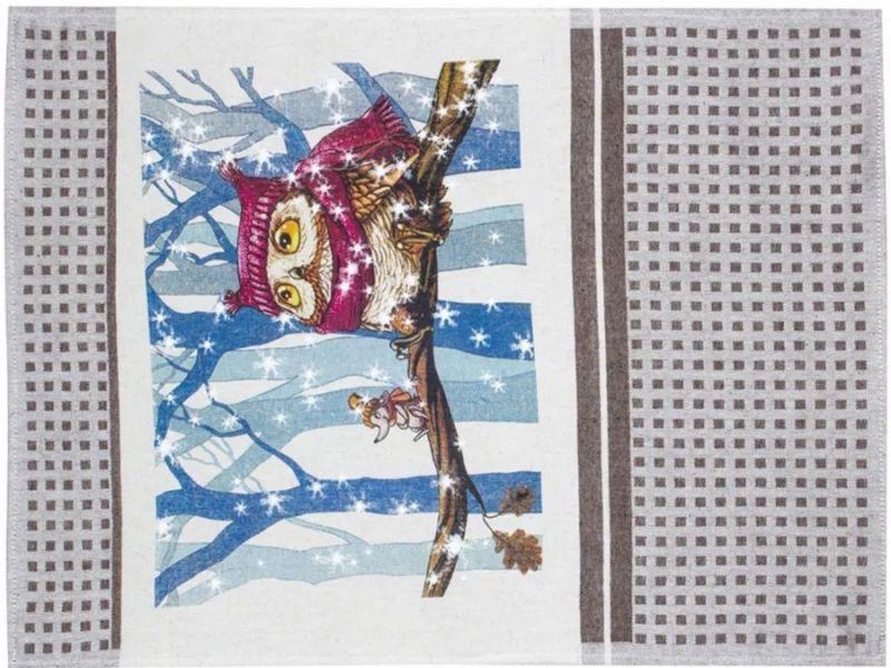 47х60 Новогоднее красивое полотенце Совиная зима