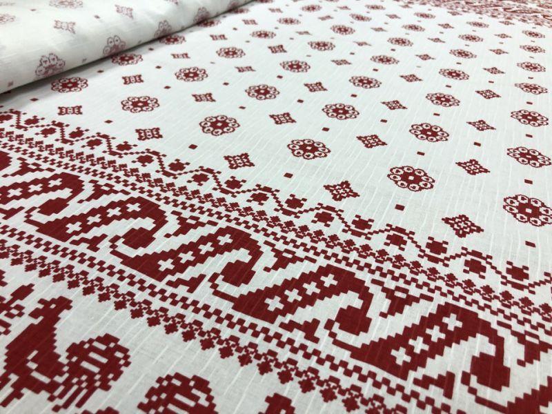 150 см. Льняная ткань со славянским рисунком Макошь