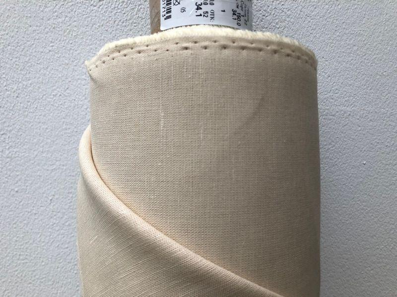 150 см. Песочная льняная ткань для штор