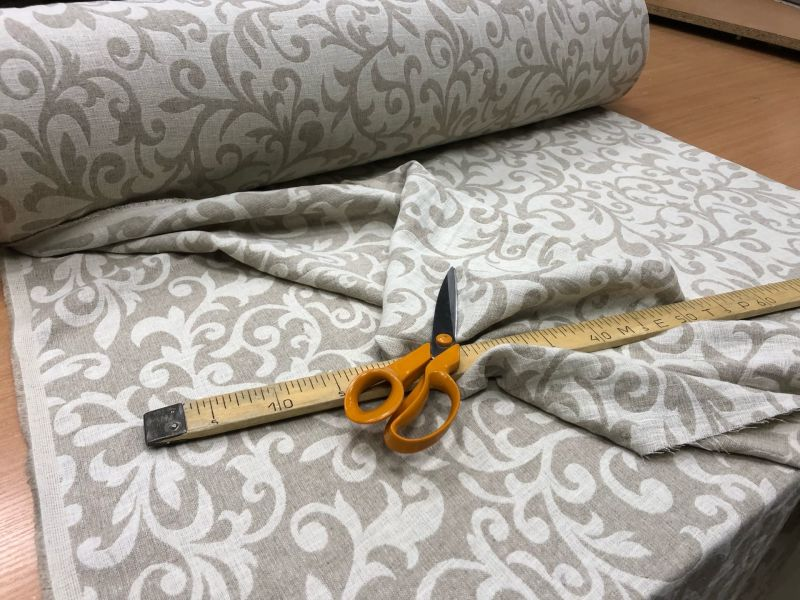 195 см. Декоративная льняная ткань Злато