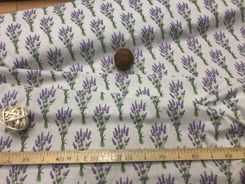 150 см. Полульняная ткань с рисунком Лаванды