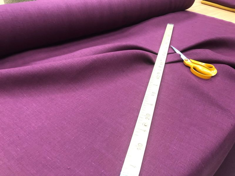 150 см. Костюмная льняная ткань Портвейн