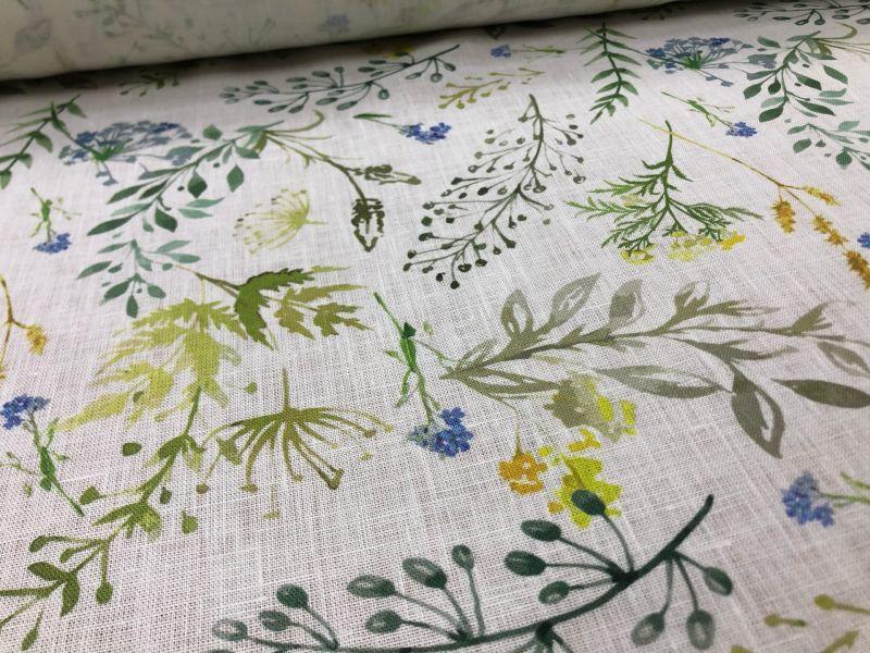 150 см. Ткань льняная для платья с рисунком Glade