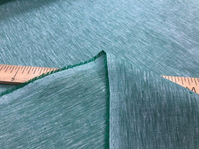 260 см. Широкая льняная ткань Ментоловый меланж 100% лен
