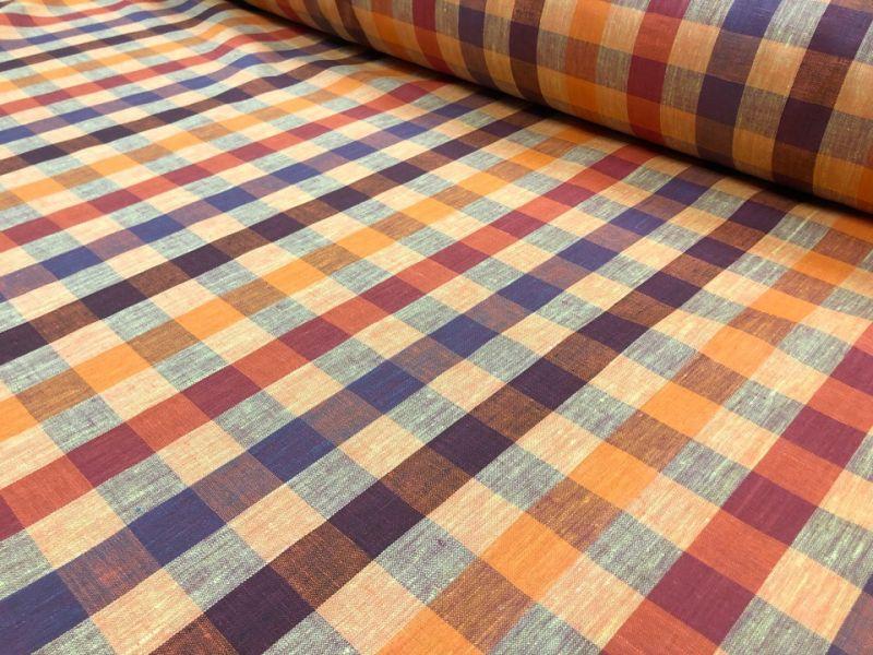 150 см. Льняная ткань для одежды в клетку Виши Антиох