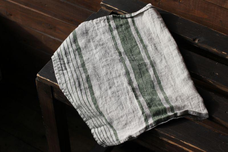 40х70 Льняное полотенце Line Green
