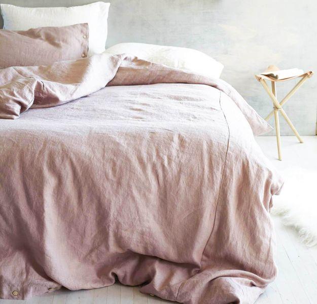 230х240 Пыльно-розовая евро простынь льняная